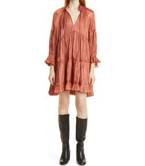 cinq a sept phyllis mock neck long sleeve dress, size 10 in dark salmon at nordstrom