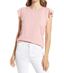caslon(r) flutter sleeve cotton blend tee, size xx-small in pink bride at nordstrom