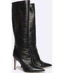 motivi stivali in vera pelle stampa cocco donna nero