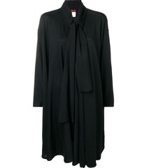 kenzo pre-owned tie neckline draped jacket - black