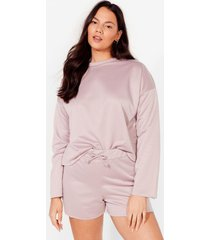 womens our day to day plus shorts lounge set - rose