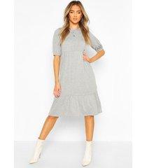 midi jurk met langere achter zoom en elastische mouwen, grijs