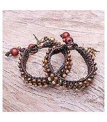 tiger's eye and jasper wristband bracelets, 'autumn's voice' (pair) (thailand)