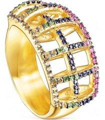 anillo costura de plata vermeil y gemas tous
