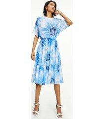 tommy hilfiger women's seersucker daisy midi skirt sweet blue floral - 6