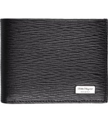 salvatore ferragamo leather textured flap-over wallet
