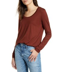 women's ag cambria long sleeve tee, size x-small - burgundy