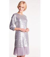 srebrna sukienka cekinowa shannel