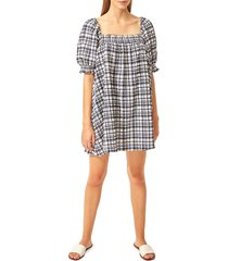 solid and striped women's plaid puffed-shoulder babydoll dress - navy white - size m