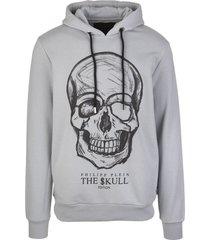 philipp plein man light grey hoodie with printed skull