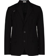alexander mcqueen strap-detail single-breasted blazer - black