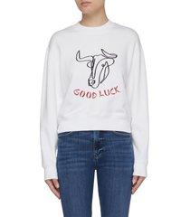ox good luck embroidered sweatshirt
