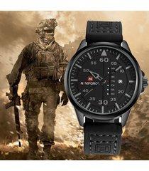 militar reloj hombre naviforce negocios cuero analógico