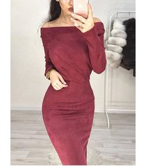 suede off the shoulder long sleeves dress