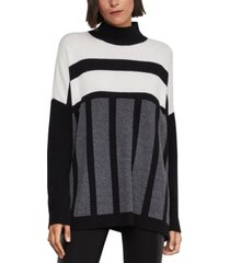 bcbgmaxazria striped mock-neck oversized sweater