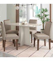 mesa de jantar 4 lugares ana 1348 100% mdf off white/castanho - new ceval