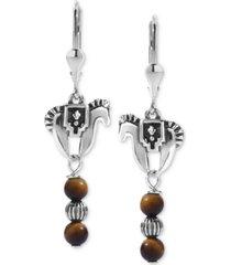 american west tiger eye horse drop earrings in sterling silver