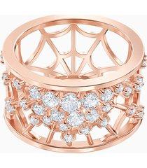 anello con motivo precisely, bianco, placcato oro rosa