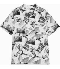 mens black and white photo print slim shirt
