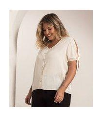 camisa plus size feminina de botões secret glam bege