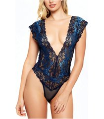 icollection natalia lace and mesh teddy bodysuit, online only
