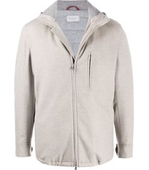 brunello cucinelli cashmere zip-up cardigan - neutrals