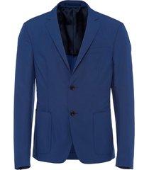 prada technical poplin single-breasted jacket - blue