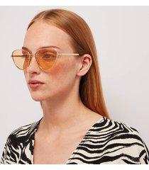 gucci women's monogram sunglasses - gold/orange