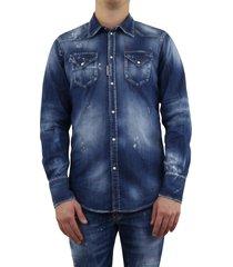 dsq classic western shirt blauw