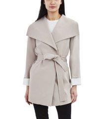 tahari belted drape front crepe coat