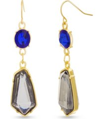 catherine malandrino women's multicolored blue and gray rhinestone chain yellow gold-tone drop earrings
