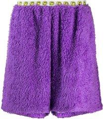 duoltd textured faux-mohair shorts - purple