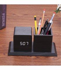 reloj digital/despertador/ alarma led pen box forma madera-