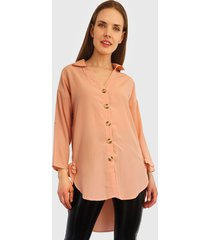 blusa nrg botones manga larga rosa - calce regular