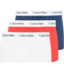 calvin klein underwear cotton stretch 3-pack low rise trunk boxershorts white/red/blue