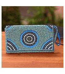 beaded wristlet, 'circle of beauty in blue' (indonesia)