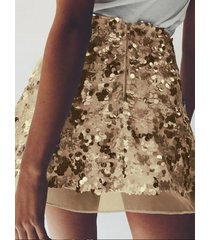 gold sequins embellished high-waisted skirt