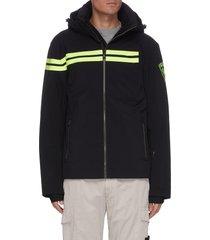 'enbleme' logo patch contrast stripe hood ski jacket