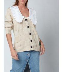 ganni women's cotton rope knitted cardigan - brazillian sand - l