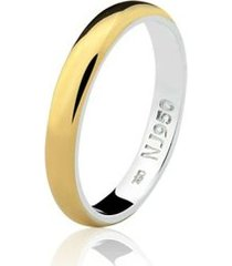 aliança mista ouro 18k e prata 925 natalia joias alm-152