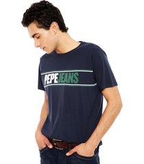 polera pepe jeans manga corta kelian azul - calce regular