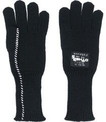 raf simons wool knit gloves - black