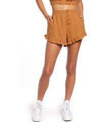 women's bp. ruffle detail linen blend shorts, size xx-small - brown