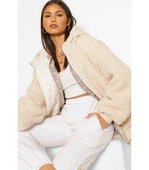 gewatteerde teddy jas met faux fur, steenrood