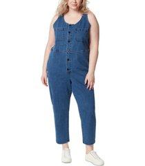 frayed trendy plus size denim jumpsuit