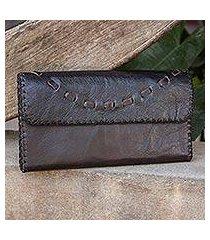leather clutch handbag, 'chic brown efficiency' (thailand)