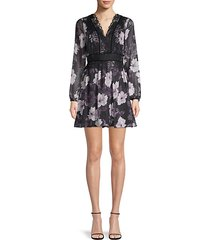 joeline floral long-sleeve mini dress