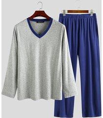 incerun hombre cómodo soft cuello en v manga larga ropa de dormir conjunto de pijama