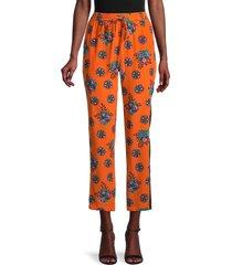 redvalentino women's floral silk cropped pants - orange - size 40 (8)