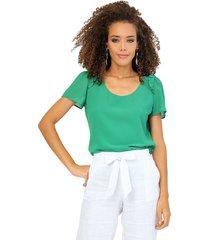 blusa forrada manga corta bolero en línea de sisa verde unipunto 32313